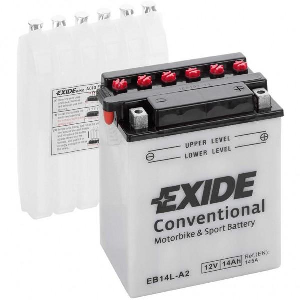 Batería Exide Moto 12V Conventional EB14L-A2. 12V - 14Ah/145A (EN) (135x90x165mm)