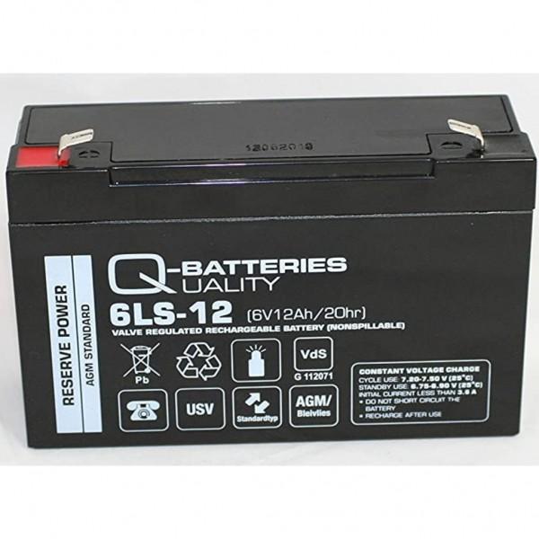 Batería Qbatteries Agm Standard 6LS-12. Tecnología AGM. 6V - 12Ah (151x51x94mm)