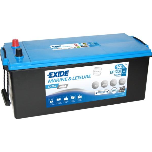 Batería Exide Marina Dual EP1200. 12V - 140Ah/700A (EN) Caja A (513x189x223mm)